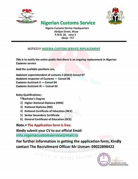 Please Avoid this Fake Nigeria Customs Job Recruitment Current