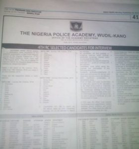 Nigeria Police Academy List of Shortlisted