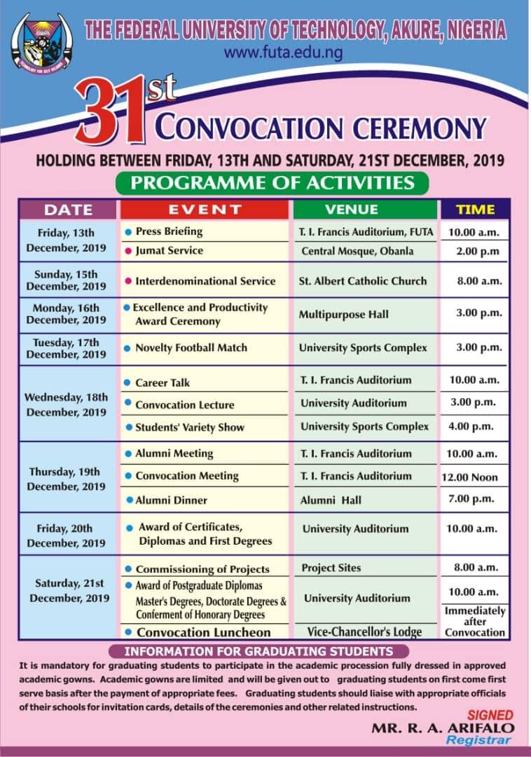 FUTA Convocation Ceremony Schedule