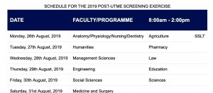 UNIPORT Post UTME Screening Exercise Schedule