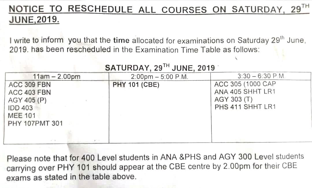 FUTA Computer-Based Exam Timetable for 1st Semester 2018/2019