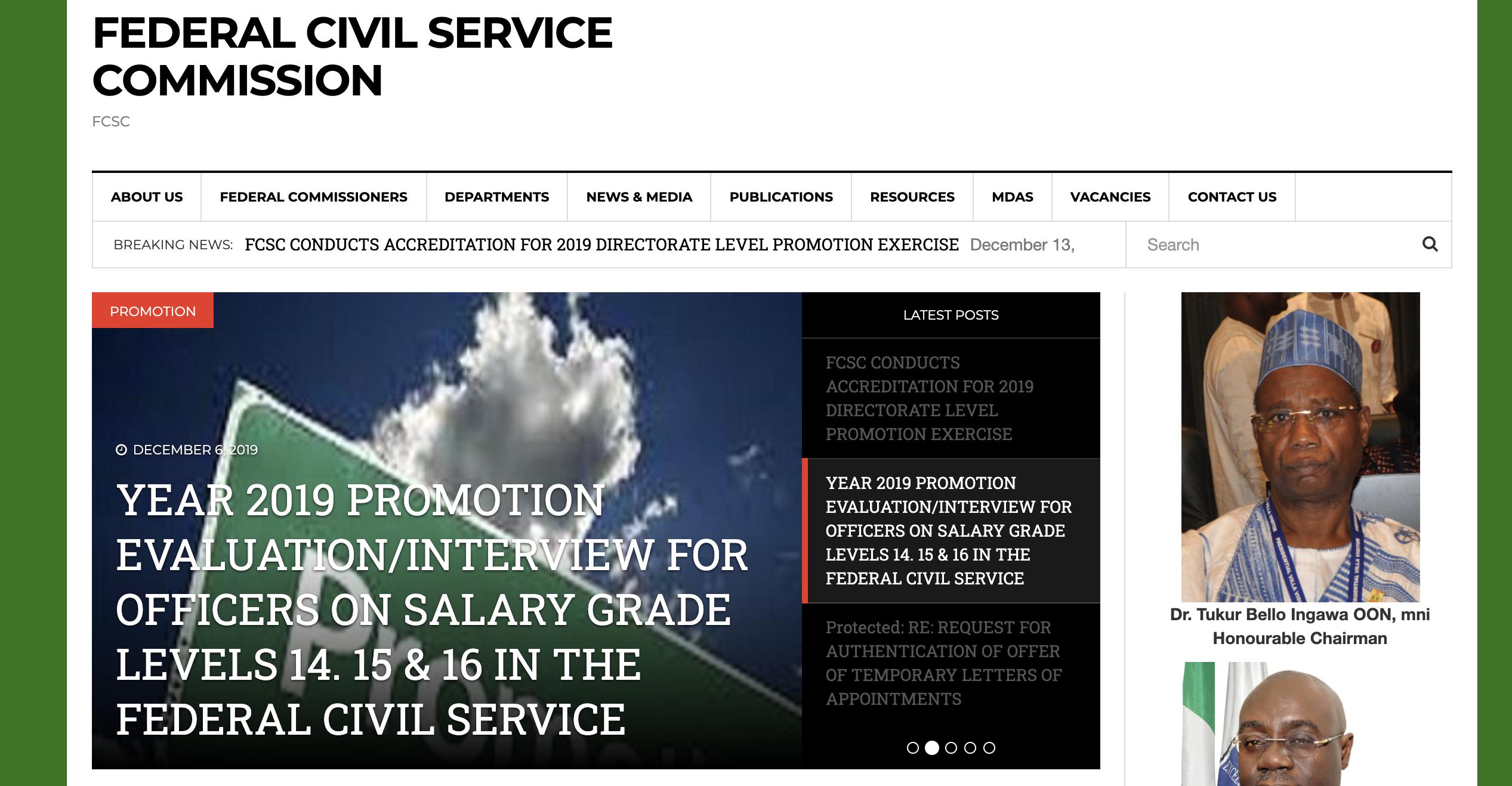 FCSC Recruitment 2021/2022 See Latest Job Vacancy