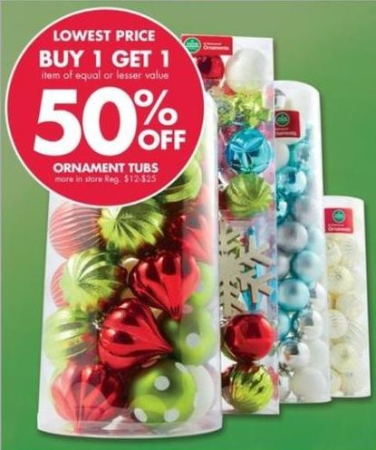 Buy 1 Get 1 50% off Ornament Tubs