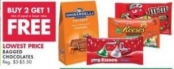 Buy 2 Get 1 Free on Bagged Chocolates