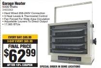 Comfort Zone 240V 5000W Garage Heater