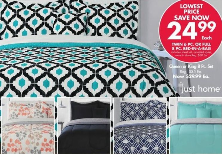 Queen or King 8-Piece Bed in a Bag Sets