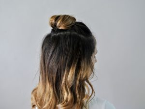 Half-Up Top Knot with Straight Hair