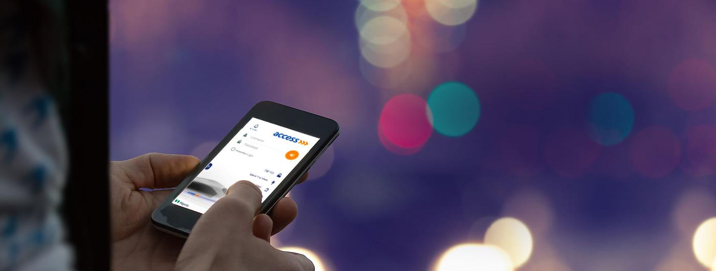 Toegang tot de bank mobiele app