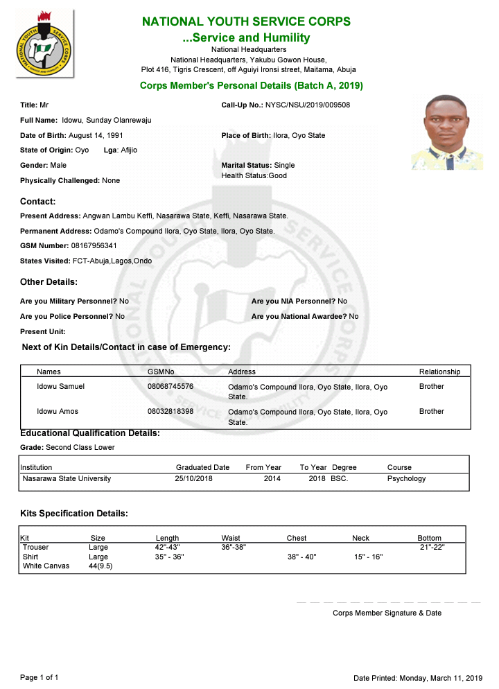 Sample of the NYSC Green Card