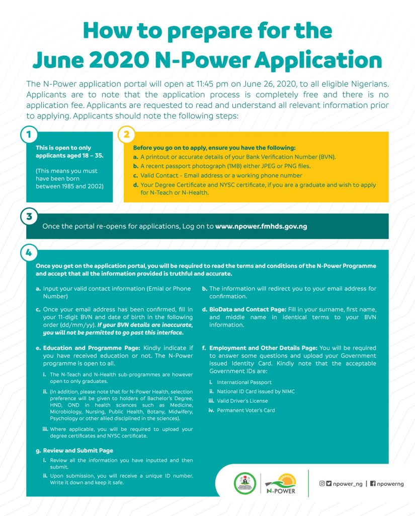 Npower Form 2020/2021 Application Process www.npower.fmhds.gov.ng