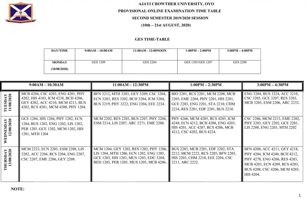 ACU Examination Timetable
