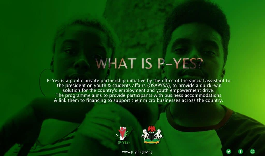 P-YES Application Portal 2021: Presidential Youth Empowerment Scheme