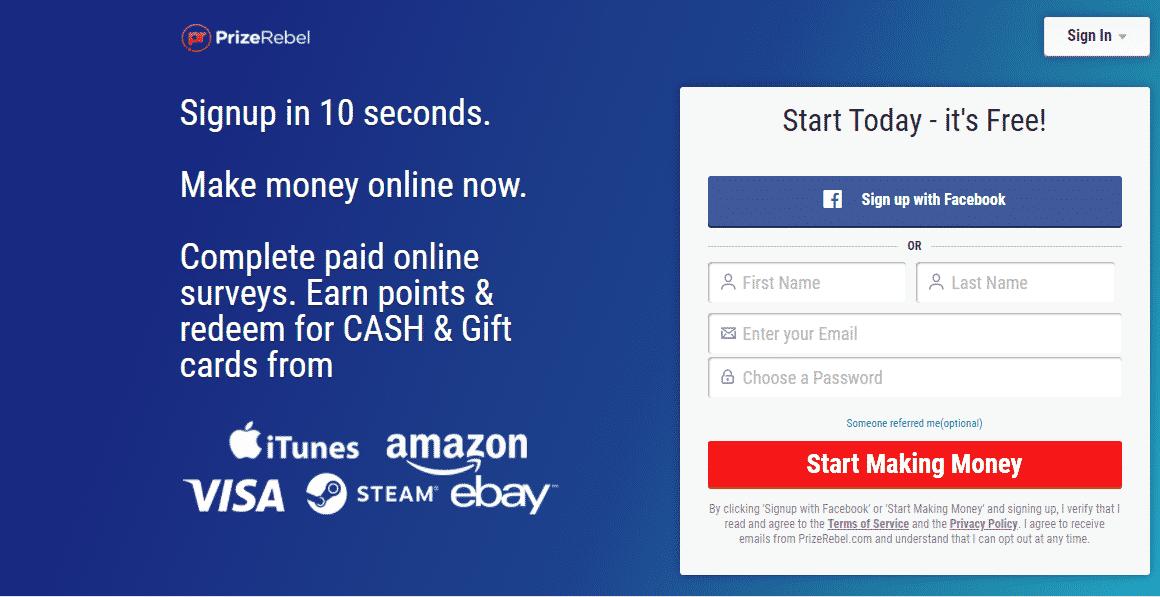 PrizeRebel 18 Top Paying Survey Sites