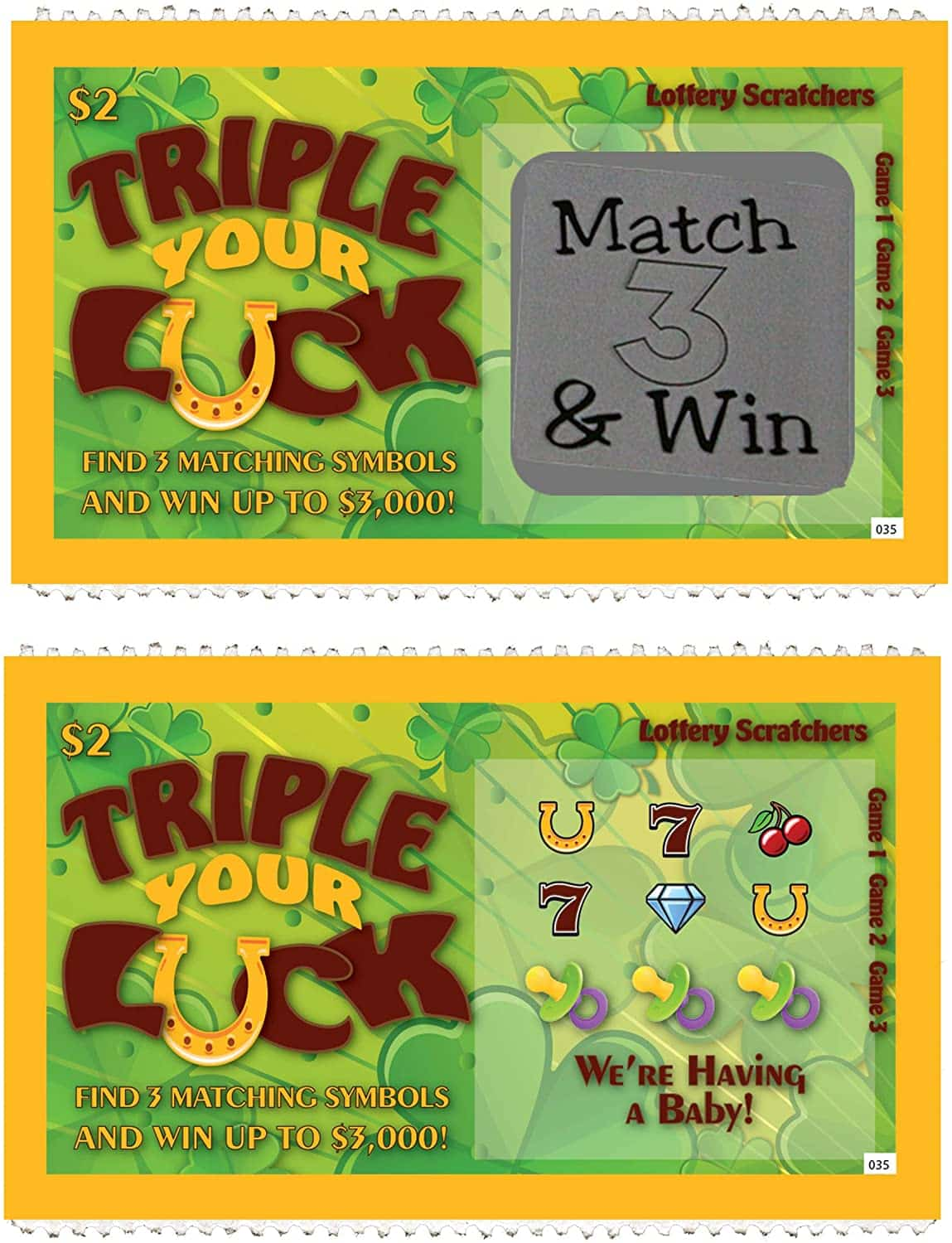 Pregnancy Announcement Scratch Off Lottery Tickets